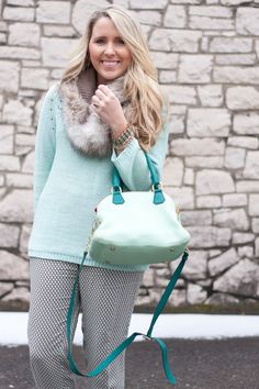 Mint Sweater | Faux Fur Stole | Winter Work Wear Outfit Idea | Pearls & Twirls Life & Style Blog