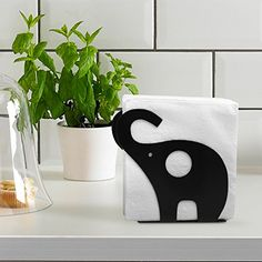 MyGift Galvanized Metal Elephant Shaped Napkin Holder, Tabletop Paper Towel Dispenser, Black ($10.99)