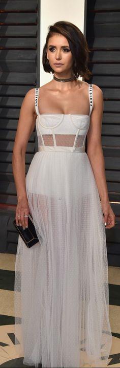 Nina Dobrev in Dress – Christian Dior  Shoes – Tamara Mellon  Purse – Tyler Ellis  Necklace – Noudar