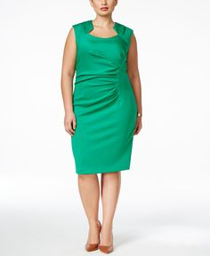 Calvin Klein Plus Size Ruched Sheath Dress