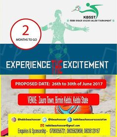 """from @kebbibeachsoccer -  KBSST2017 is here once more with just 2 Months to go, the Countdown has already began. The Local Organising Commitee (LOC) is doing everything humanly possible to make it a Success to Entertain and Wow the Crowd. The Kebbi based young stars of """"BORGU FC"""" who are the Defending Champions have a more difficult task this year as Teams from across the Country are preparing to Battle it out with the Local Teams and give it a National feeling. This Unique event is surely…"""