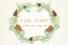 Pine Watercolor Hand drawn clipart set Pine. Romantic wedding, tender, green wreath, Pine cone arrangements. Romantic et tender composition with watercolour Pine cone.Wedding clip art. This