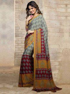 Grey Silk Saree With Print Work www.saree.com