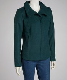 Take a look at this kensie Teal Plush Zip-Up Coat on zulily today!