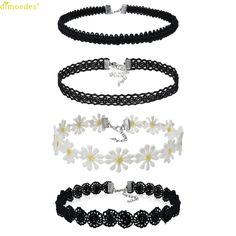 Diomedes Newest Gorgeous 4 Pieces Choker Necklace Set Stretch Velvet Classic Gothic Tattoo Lace Charm  Choker Bracelet #0303 #Affiliate