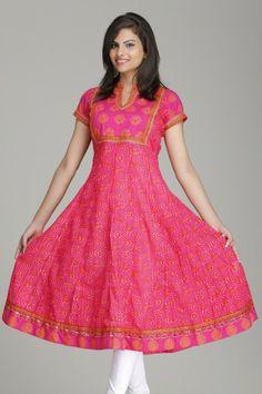 Stunning Pink Anarkali Cotton Kurta by Farida Gupta