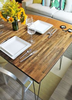 DIY'd dining table with leaves using IKEA countertop and hairpin legs // Joe