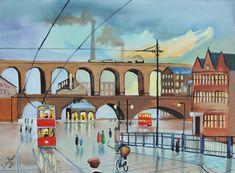 Scene of old Stockport viaduct painting oil canvas Gordon Bruce new art Stockport Market, Stockport Uk, Manchester Art, New Art, Illustration Art, Scene, Mansions, Street, Architecture