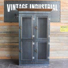 Vintage Industrial Armoire Storage Cabinet