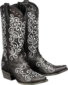 Lane Boots Women's Willow Western Boot, Black, 7.5 M US * Details can be found by clicking on the image.