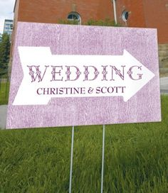 Personalized Pointing Arrow Outdoor Wedding Sign (6 Colors) from Wedding Favors Unlimited