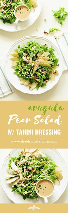 Topped with blue cheese and chopped walnuts, this four-ingredient arugula pear salad drizzled with tahini dressing is so quick to throw together, yet the combination of sweet and salty flavors and crunchy and soft textures proves that simple can be phenomenal. #glutenfreerecipes #vegetarian #salad