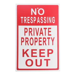 """1pc 8""""x12"""" White Red Aluminum Sign Letter Warning Sign Metal No Trespassing Private Property Keep Out Sign Do Not Enter Signs"""