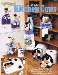 Delightful Kitchen Cows Crochet Pot Holders Canister By Howtobooksandmore, $5.00