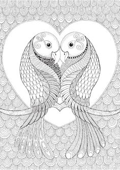 Lovebirds Colour with Me HELLO ANGEL door HelloAngelCreative