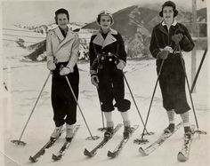 In 1936, the Wasatch Mountain Club built the first rope tow at Brighton, offering skiing to many.    Photo of three women skiing at Brighton in the early days.