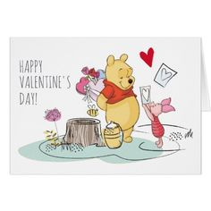 Valentine's Day Party Invitations Winnie the Pooh & Piglet | Sweet Like Honey Card