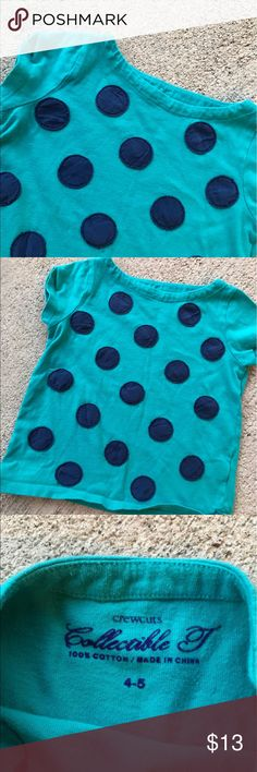 Girls JCrew Polka Dot Tshirt 4-5 Cute t-shirt by JCrew. Beautiful fabric polka dots on shirt makes this tee a classic. Some fading and wear but no stains. Bundle with my other kids items and save with bundle discount 💰💰💰 J. Crew Shirts & Tops Tees - Short Sleeve
