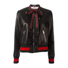 GUCCI Black and 'Web' Ruffle Bomber Jacket ($2,641) ❤ liked on Polyvore featuring outerwear, jackets, coats & jackets, black, gucci jacket, flight bomber jacket, gucci, bomber style jacket and zip front jacket