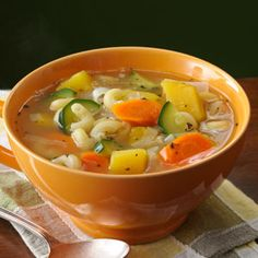 """""""Apres-Ski"""" Soup French for after skiing, the perfect warm up soup - Acorn Squash, Carrot, Leek, Zucchini, Elbow Macaroni, Chx Broth (92 calories!)"""