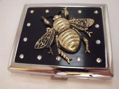 Brass Bee Cigarette Case Holder or Metal Wallet by AGothShop, $27.00