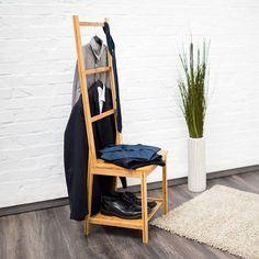 Relaxdays 10019172 Kleiderstuhl Aus Bambus Als Herrendiener Mit 2 Ablagen HBT 133 X 40 42