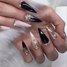 Black And Nude Bling Stilettos by MargaritasNailz