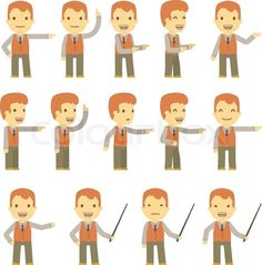 Stock vector of 'Urban character set in different poses. simple flat design.'