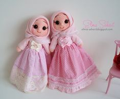 Amigurumi tesettürlü bebekler Octopus Crochet Pattern, Crochet Flower Patterns, Baby Knitting Patterns, Crochet Flowers, Crochet Dolls, Crochet Hats, Crochet Storage, Wedding Doll, Amigurumi Doll