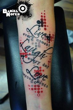 "Trash Polka Tattoo ""Live - Laugh - Love"""