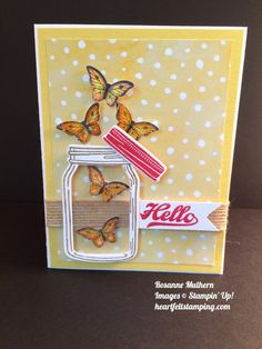 Stampin Up Jar of Love , Papillon Potpourri, butterflies, cards ideas - Rosanne Mulhern stamping Pretty Cards, Love Cards, Mason Jar Cards, Mason Jars, Stampin Up Anleitung, Stamping Up Cards, Shaker Cards, Butterfly Cards, Creative Cards