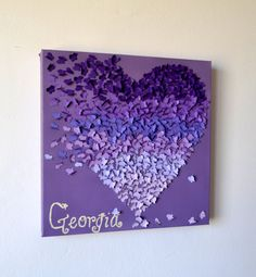 Purple Ombre Clic Erfly Heart Wall Art Engagement Gift Unique Wedding For Her Nursery Pinterest