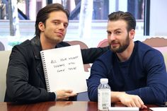 "Sebastian Stan and Chris Evans at Buzzfeed's AnswerTime. ""What would you say to convince me to join your team?"""