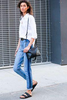White on denim. #love! NYFW Street Style - Spring 2015. #nyfw
