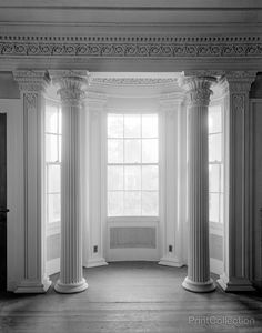 This stone and stucco bay window interior view was captured by Frances Benjamin Johnston in 1939 in Gaineswood, Alabama.