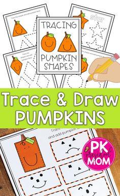 Name Activities Preschool, Shape Worksheets For Preschool, Shape Tracing Worksheets, Drawing Activities, Fall Preschool, Preschool Printables, Halloween Activities, Preschool Shapes, Preschool Halloween