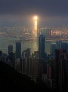 Skyscraper reflecting sunlight