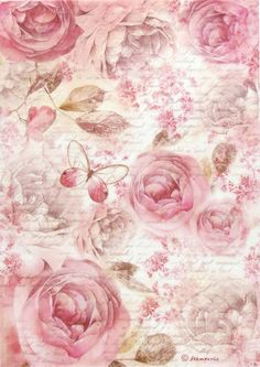 Rice Paper for Decoupage, Scrapbook Sheet, Craft Paper Pink Roses