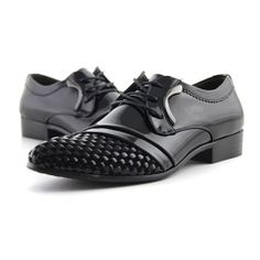 Men's Formal Shoes With Black Weaving and Lace-Up Design $59.99