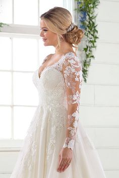 Wedding Dress out of Essense of Australia - Long-sleeve wedding dress idea - a-line wedding dress with lace sleeves - Style Essense of Australia - Learn more about this dress on WeddingWire! Wedding Dress Sleeves, Long Sleeve Wedding, Dresses With Sleeves, Lace Sleeves, Bridal Dresses, Wedding Gowns, Bhldn Wedding, Fall Wedding Dresses, Tulle Wedding