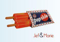Sticking popsicles. Retro trouwkaartje.
