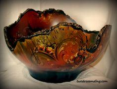 Barkedge bowl, painted by Turid Helle Fatland, Norway. turidrosemaling.com