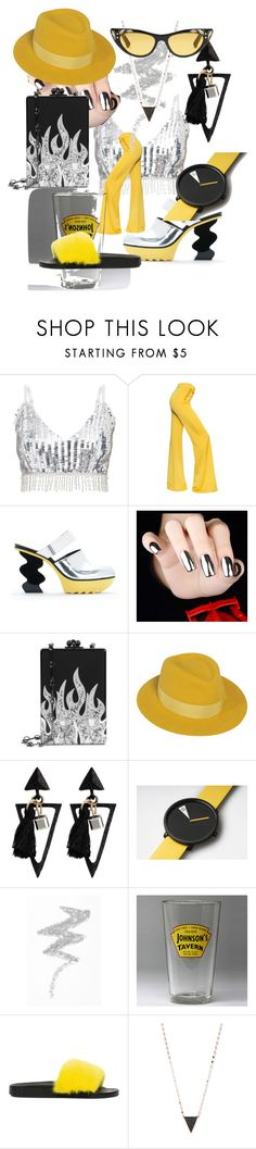 """""""#PolyPresents: Fancy Pants"""" by sunnybrookfarmrebecca ❤ liked on Polyvore featuring Balmain, Edie Parker, Maison Michel, NYX, Royal Products, Givenchy, Lana, Gucci, contestentry and polyPresents"""