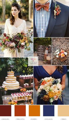 brown + Terra cotta + Pumpkin + Wheat and Royal blue Autumn Wedding Royal blue chocolate brown and burnt orange autumn wedding palette Fall Wedding Colors, Wedding Color Schemes, Wedding Flowers, Burgundy Wedding, Mustard Wedding Colors, October Wedding Colors, Orange Wedding Colors, Burnt Orange Weddings, Blue Weddings