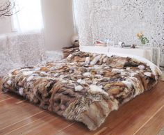 """""""Nordic Flying Carpet"""" - Wild Reclaimed Fur Throw Unusually large - x - Made of fancy, long-haired clean trims collected from dozens of women's vintage fur coats."""