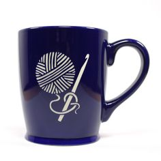 CROCHET HOOK Coffee Mug - NAVY BLUE - 16 oz - Microwave-safe Engraved Stoneware. Crocheting and drinking coffee or tea is the perfect afternoon. Microwave-safe and dishwasher-safe. We carved all the way through the bright, colorful glaze of this extra large CROCHET HOOK mug so that the bold natural stoneware ceramic can be seen. Engraving will never wear or stain. Other colors may be available. Food-safe! Glaze you can feel good about: meets CA's Prop 65 limits for leaching of lead…