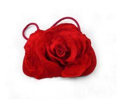 Felted Bag Felt Handbag Red Rose Purse Art Handbag Art bag Felt Nunofelt Nuno felt Silk red ruby burgundy fairy floral fantasy shoulder bag