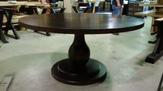 "round pedestal base on a 60"" table - solid maple"