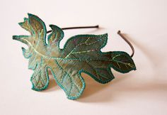 Fiber Art Acanthus Leaf Headband Hairband Teal Silk Botanical Hair Accessory Natural History Woodland Nature Lover Gift for Her by BlueTerracotta on Etsy