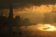 Sunset Over Hong Kong Harbor - from a dusty hotel window